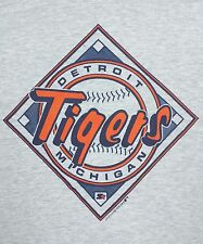 Vtg STARTER DETROIT TIGERS T Shirt 80's MLB BASEBALL Gray Single Stitch XL
