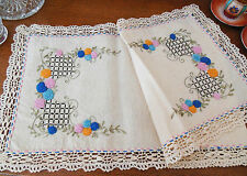 Antique Embroidered Natural Muslin Runner with Cluney Lace #2