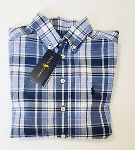 Ralph Lauren Big Boys Long Sleeve Plaid Cotton Poplin Shirt Blue/White Sz L-NWT