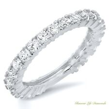 1.20 Ct Pave Set Promise Engagement Wedding Ring Real Solid 14K White Gold 6.5