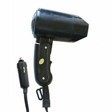 Small 12V Black Compact Travelling Festival & Camping Portable In Car Hair Dryer