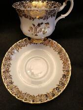 "Royal Albert English Bone China Cup & Saucer ""Mother"" Gold Floral Trim!"