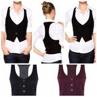 Women's V-Neck Sleeveless Uniform Office Workwear Formal Vest Business Waistcoat