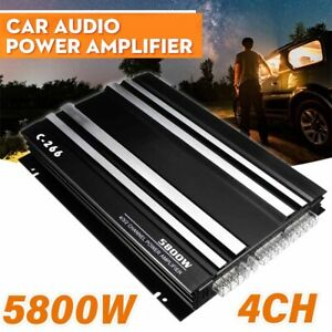 5800W 12V Audio Stereo Power Amplifier 4-Channel Bass Subwoofer Car Van Home UK