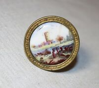 antique 18th century English painted porcelain gilt brass curtain tieback rod .