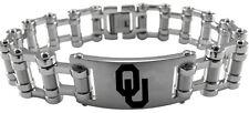 UNIVERSITY OKLAHOMA SOONERS OU * Stainless Steel Bike Chain Bracelet w/Logo NCAA