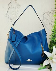 Coach 35809 Madison mineral blue Isabelle Leather Crossbody Shoulder purse Hobo