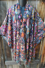 ART TO WEAR COLORFUL EMBROIDERED PASHMINA WOOL RUANA SHAWL WRAP BY ANU, OS+!
