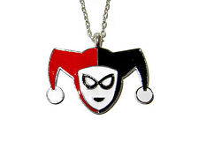 SUICIDE SQUAD HARLEY QUINN FACE HARLEQUIN COSTUME PENDANT NECKLACE RED AND BLACK
