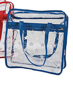 Large Patriotic Transparent Tote Bag W White Stars Choose Red or Blue NEW