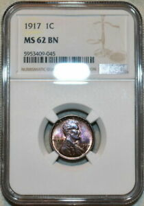 1917-P U.S 1 CENT LINCOLN CENT NGC MS 62 BN STUNNING COLOR TONED GEM CHOICE