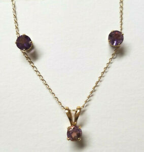 10K Gold Amethyst Delicate Necklace & Earring Set Total weight 1.5 Grams Gold