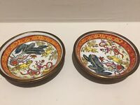 Pair Vintage Chien Jardin Brass Ceramic Bowls - MADE IN Hong Kong #3923 Asian