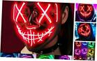 Scary Halloween Mask, LED Light up Mask Cosplay, Glowing in The Dark A - Red