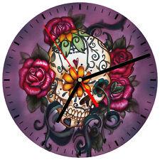 """8"""" WALL CLOCK Sugar Skull 28 Dia de los Muertos Day of the Dead Halloween Tattoo"""