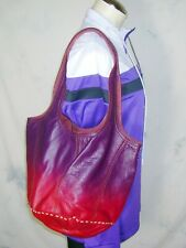 LUCKY BRAND Shoulder Bag Dip Dyed Purple Pebbled Leather Hobo Purse FAST SHIP!