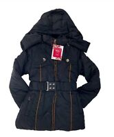 Girls Kids Black Belted Puffer Coat with Hood Winter Outer wear 5 to 13 Years