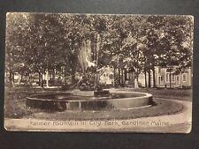 Antique POSTCARD c1907-15 Palmer Fountain in City Park GARDINER ME Maine (20583)