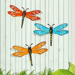 Scwhousi Metal Dragonfly Wall Decor Outdoor Garden Fence Art,Hanging