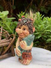 Miniature FAIRY GARDEN ~ Mini Troll Boy Holding Fish ~ Faux Fur Tail ~ NEW
