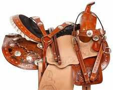 "14"" 15"" 16"" USED GAITED WESTERN PLEASURE TRAIL HORSE LEATHER SADDLE AND TACK SET"