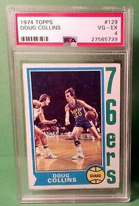 1974 Topps DOUG COLLINS Philadelphia 76ers ROOKIE Card #129 PSA 4 VG-EX