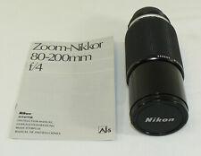 Nikon Zoom-Nikkor 80~200mm 1:4 253235 f/4 Camera Zoom Lens W/ Manual Ai Ai-S