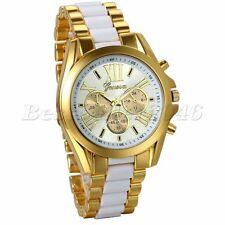 Luxury Mens Gold Tone Stainless Steel Strap White Dial Analog Quartz Wrist Watch