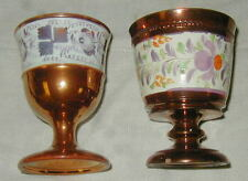 2 Old English Staffordshire Hand Painted Copper Luster Goblets, Tea Leaf