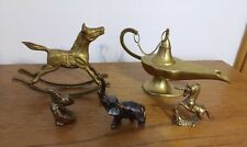 New listing Lot of 5 Brass/Copper Items Genie Lamp & Animal Figurines