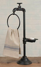 Tall RUSTIC Iron Spigot Soap and Towel Holder Pedestal Farmhouse Country Decor