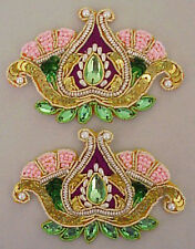 2 Sparkling Beaded Appliques Hand-Embroidered Pasely Flower Sequins gold bullion