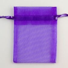 100 PURPLE ORGANZA BAG JEWELLERY POUCHES XMAS WEDDING PARTY FAVOUR BAGS 12X9CM