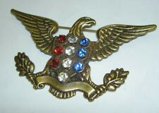 "Vintage Signed JOSEFF OF HOLLYWOOD Rhinestone USA Eagle Pin Brooch 3.25"" Wide"