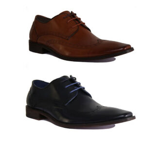Justin Reece Lace up Casual Oxford All Leather Shoes Brown Navy Size UK 6 - 12 R