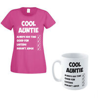 COOL AUNTIE - Family / Funny / Novelty Themed Women's T-Shirt and Mug Set