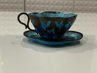 Antique Chinese Blue Cloisonne Quatrefoil Form Cup & Saucer