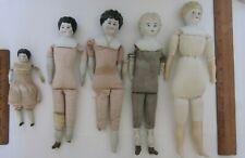 "Antique/Vintage 5-11"" 3 German Parian China Head Dolls ~1 Nippon 1? Restore Lot"