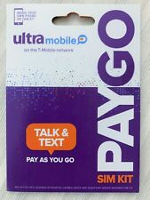 New Ultra Mobile Sim Card PayGo $3 a month Pay as You Go - One Month Free