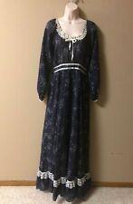 New listing Vintage 70s Gunne Sax size 11 Navy Blue Floral & Lace Maxi Dress Prairie Boho