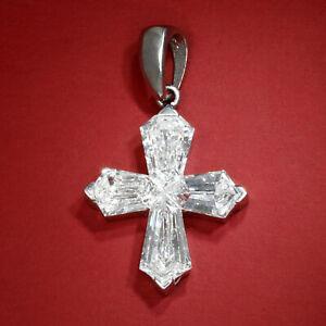 Hexagonal Diamond Cross Pendant 18K White Gold 1.70ctw
