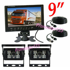 "2x 4Pin 18LED Auto Rückfahrkamera  + 9 ""LCD Monitor Rückansicht Set für Bus LKW"