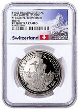 1994 Switzerland Shooting Festival Thaler St. Gallen Silver NGC PF70 UC Proof 70