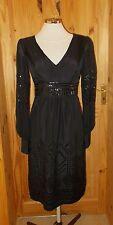 MONSOON black PURE SILK chiffon long sleeve sequin VICTORIANA evening dress 10