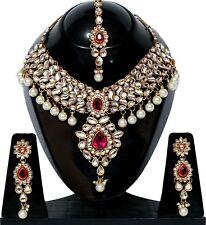 Hot Pink Kundan Meena Pearl Gold Tone Bollywood Choker Necklace Jewelry Set 4Pcs