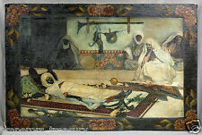 """Dying Man"" 19th Century Algerian Orientalist Oil Painting"