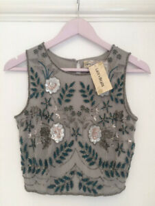 Topshop Lace And Beads Embellished Grey Top Size 8 (Small) New With Tags