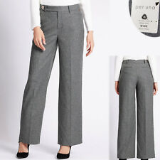New PER UNA Wool Rich WIDE Leg TAILORED TROUSERS ~ Size 12 Short ~ GREY