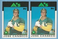 Jose Canseco Rookie LOT X 2 1986 Topps Traded #20T Oakland Athletics rc