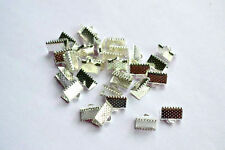 200 SILVER PLATED END CAPS CRIMP BEADS for Ribbon, Cord, Leather 8x8 Findings